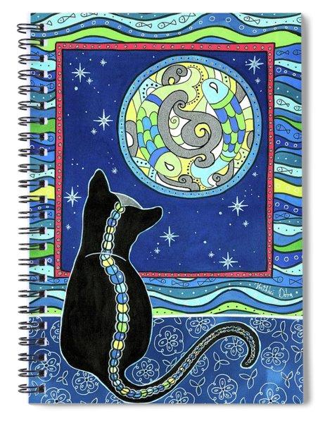 Pisces Cat Zodiac - Full Moon Spiral Notebook