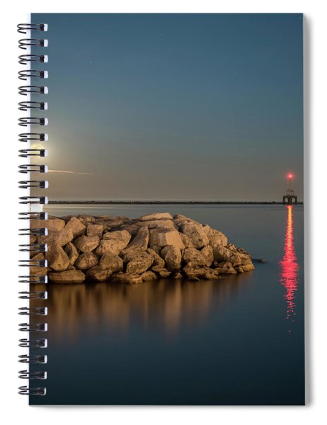 Full Moon In Port Square Spiral Notebook