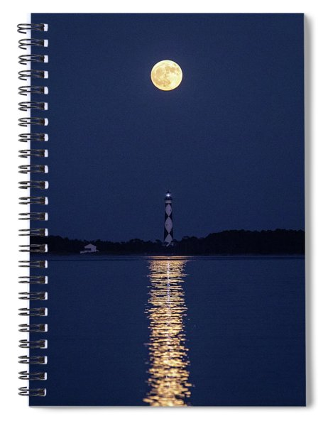 Full Moon Over Cape Lookout Light Spiral Notebook