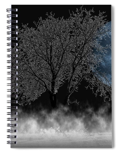 Full Moon Over Iced Tree Spiral Notebook