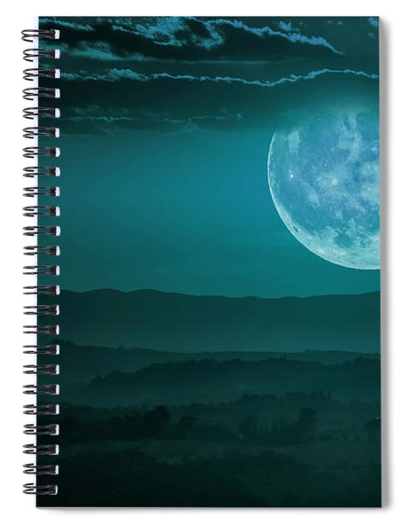 Full Moon Over Tuscany Spiral Notebook