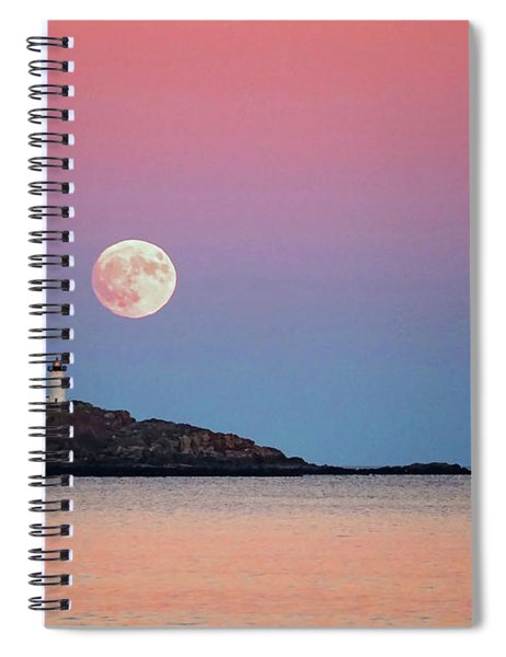 Full Moon Rising At Nubble Light Spiral Notebook