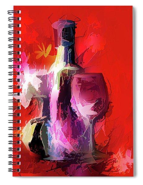 Fun Colorful Modern Wine Art   Spiral Notebook