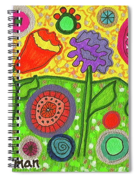 Funky Flowers All In A Row Spiral Notebook