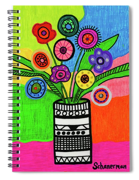 Funky Folk Flowers Spiral Notebook