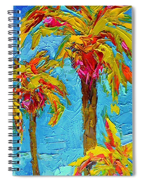 Funky Fun Palm Trees - Modern Impressionist Knife Palette Oil Painting Spiral Notebook