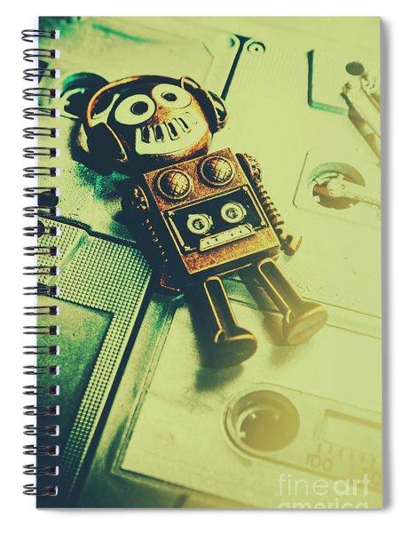 Funky Mixtape Robot Spiral Notebook
