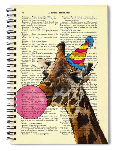 Funny Giraffe, Dictionary Art Spiral Notebook