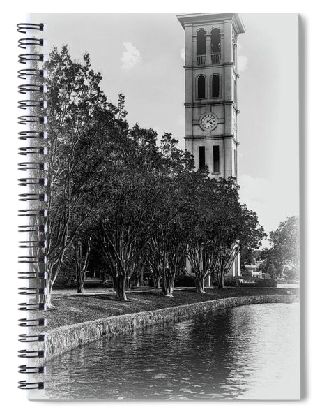 Furman University Bell Tower Greenville South Carolina Black And White Spiral Notebook