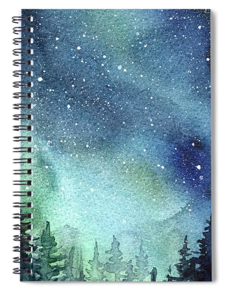 Galaxy Watercolor Aurora Painting Spiral Notebook
