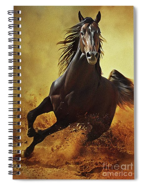 Galloping Horse At Sunset In Dust Spiral Notebook