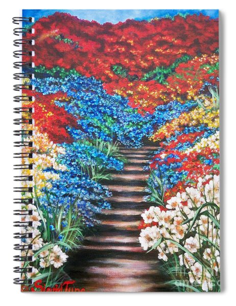 Red White And Blue Garden Cascade.               Flying Lamb Productions  Spiral Notebook