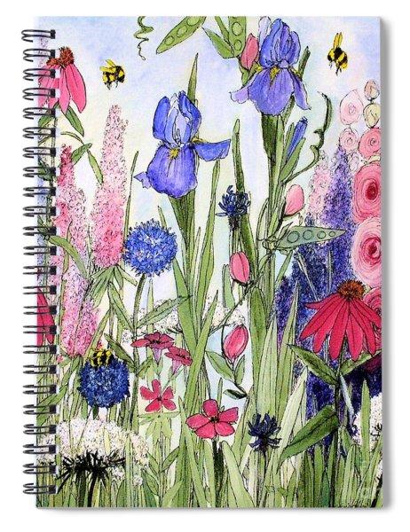 Garden Cottage Iris And Hollyhock Spiral Notebook