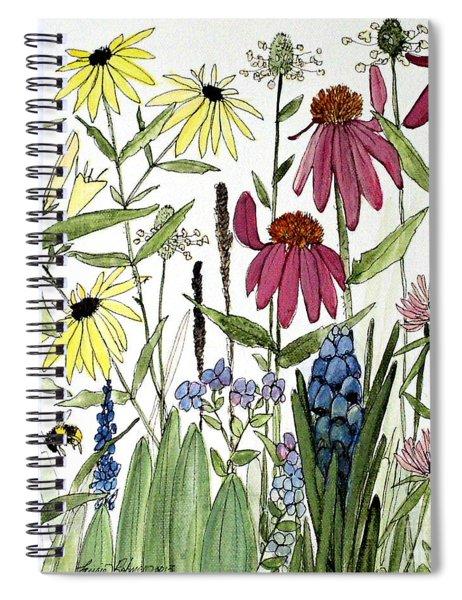 Garden Flowers With Bees Spiral Notebook