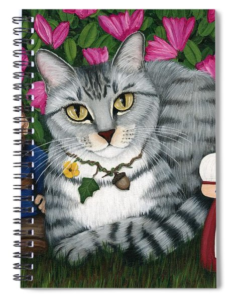 Garden Friends - Tabby Cat And Gnomes Spiral Notebook