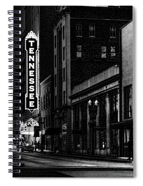 Gay Street Night Scene Black And White Spiral Notebook