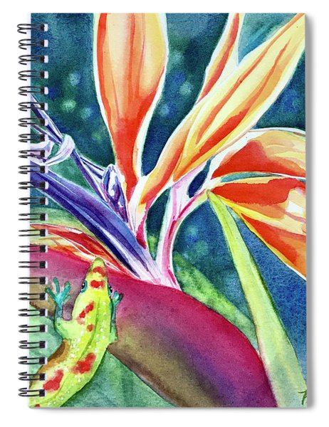 Gecko On Bird Of Paradise Spiral Notebook