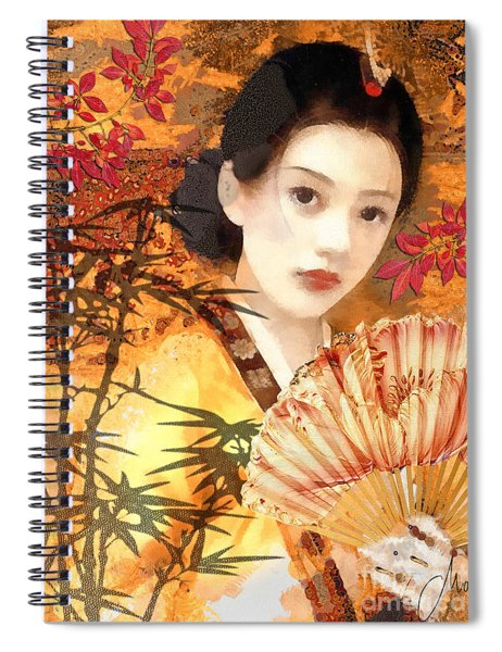 Geisha With Fan Spiral Notebook