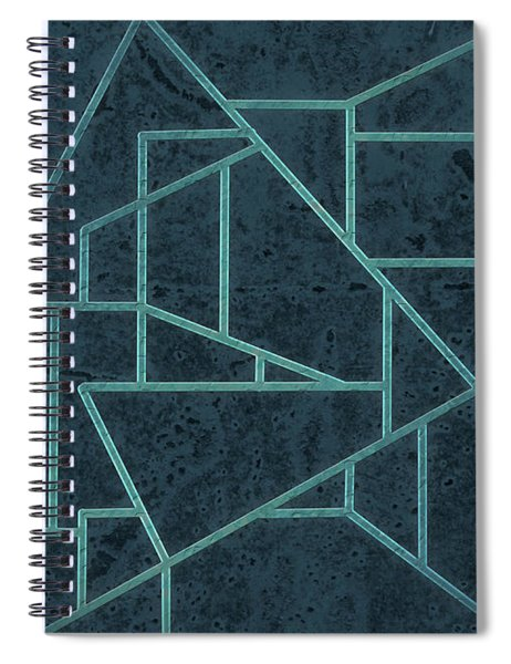 Geometric Abstraction In Blue Spiral Notebook