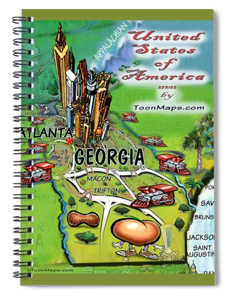 Georgia Cartoon Map Spiral Notebook