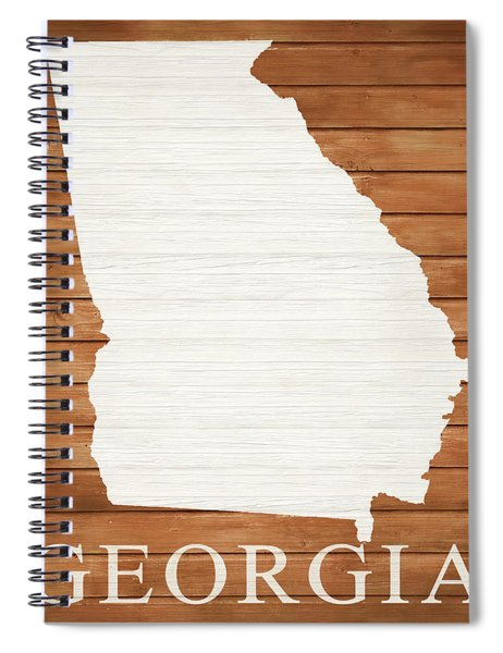 Georgia Rustic Map On Wood Spiral Notebook