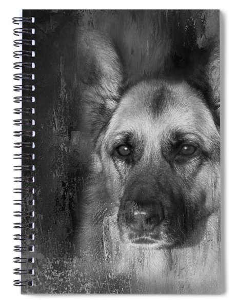 German Shepherd In Black And White Spiral Notebook