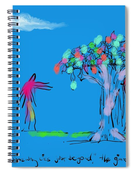Giant, Boy, And Doorway Spiral Notebook