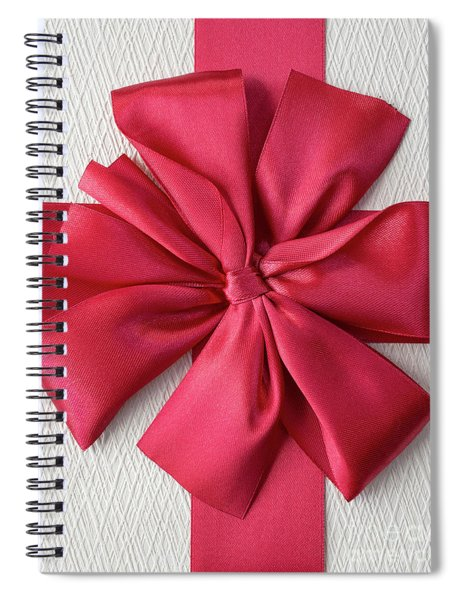 Gift Box With Red Bow Spiral Notebook