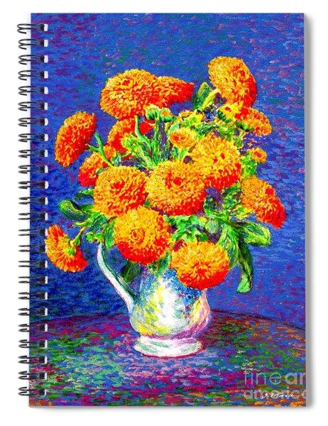 Gift Of Gold, Orange Flowers Spiral Notebook