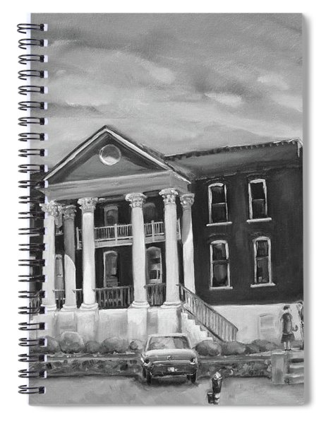 Spiral Notebook featuring the painting Gilmer County Old Courthouse - Black And White by Jan Dappen