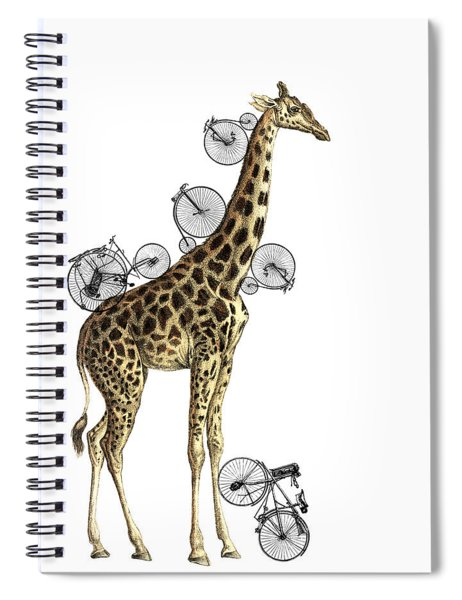 Giraffe And Bicycles Spiral Notebook