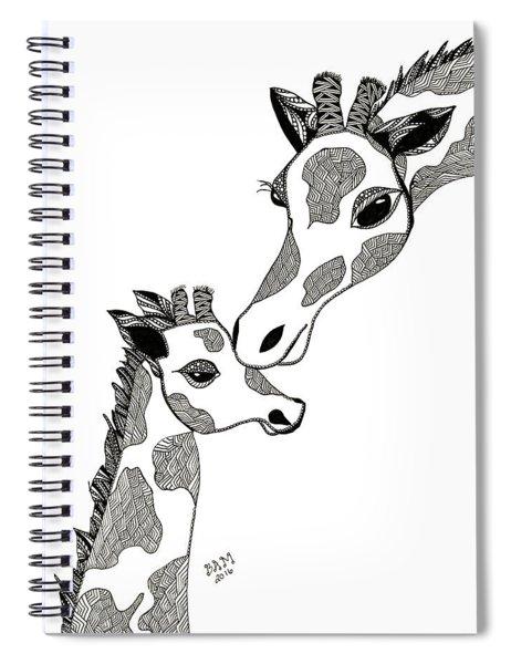 Giraffe Mom And Baby Spiral Notebook