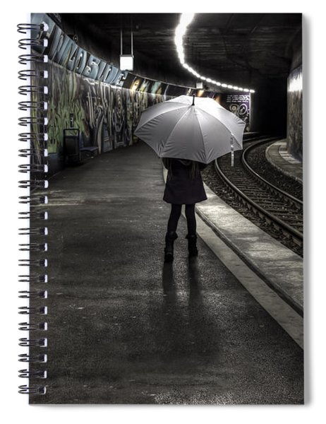 Girl At Subway Station Spiral Notebook