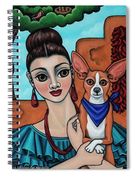 Girl Holding Chihuahua Art Dog Painting  Spiral Notebook