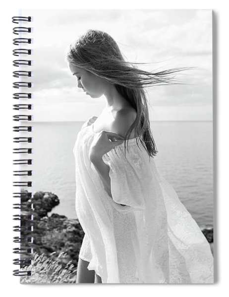 Girl In A White Dress By The Sea Spiral Notebook