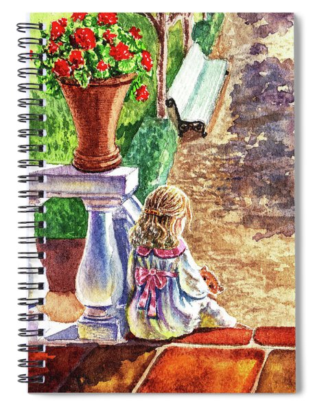Girl In The Garden With Teddy Bear Spiral Notebook