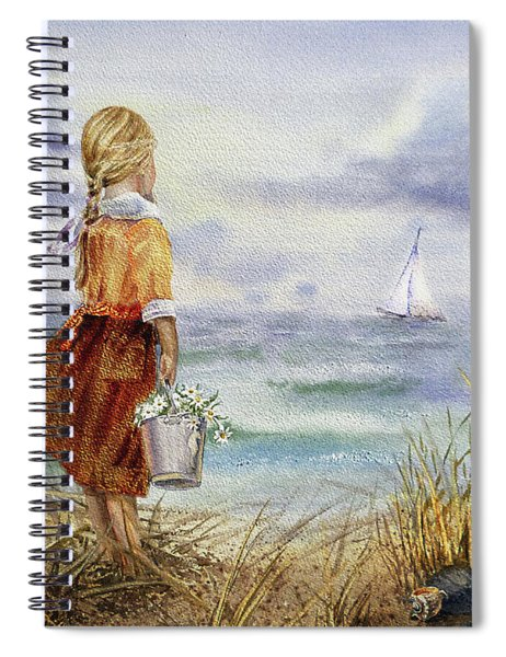 Girl Ocean Shore Birds And Seashell Spiral Notebook