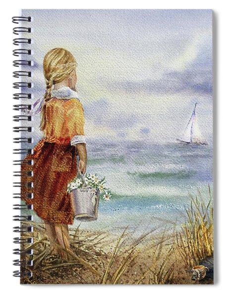 Girl Ocean Shore Birds And Seashell Spiral Notebook