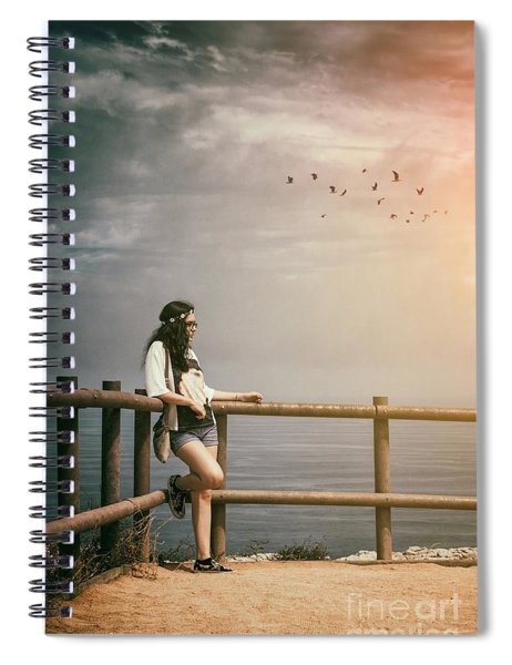 Girl On Fence Spiral Notebook