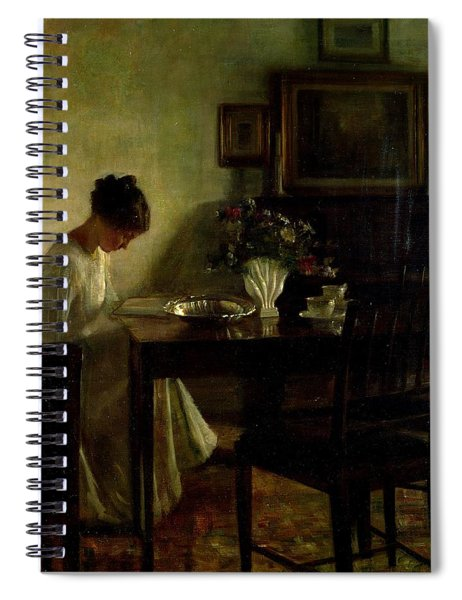 Girl Reading In An Interior  Spiral Notebook