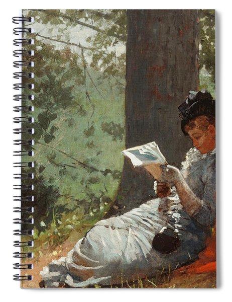 Girl Reading Under An Oak Tree Spiral Notebook