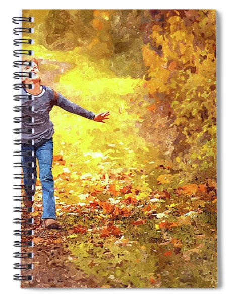 Girl Running In The Autumn Leaves Spiral Notebook by Movie Poster Prints