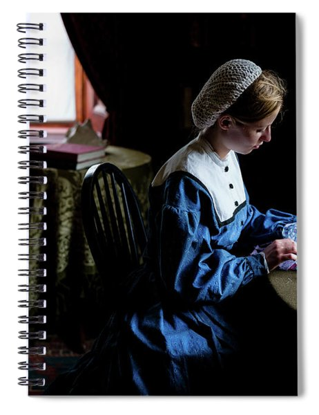 Girl Sewing Spiral Notebook