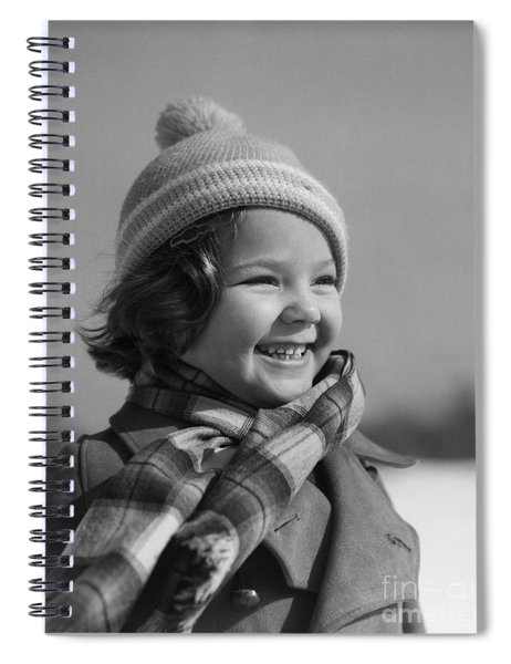 Girl Smiling On A Winter Day, C.1930s Spiral Notebook