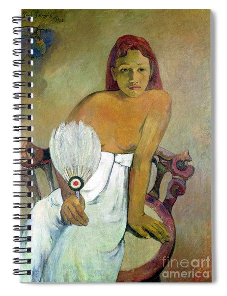 Girl With Fan Spiral Notebook by Paul Gauguin