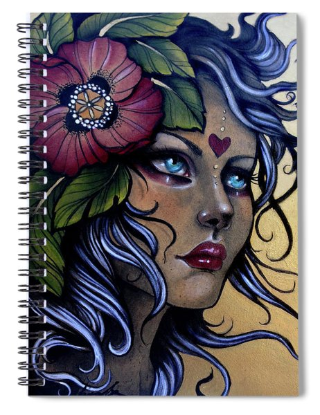 Girl With Poppy Flower Spiral Notebook