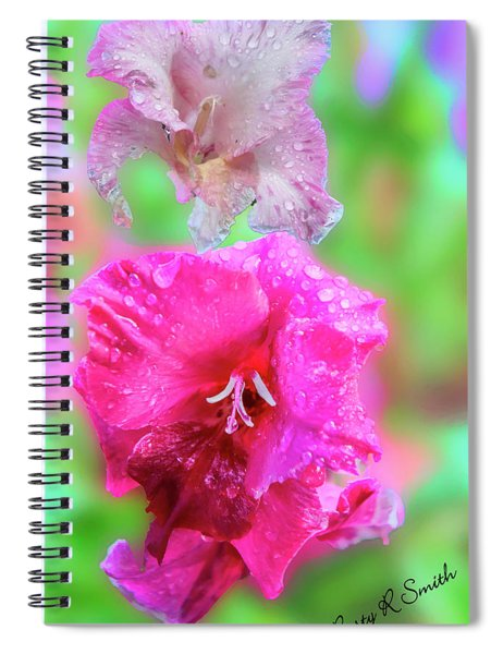 Gladiola Blossoms In The Rain. Spiral Notebook