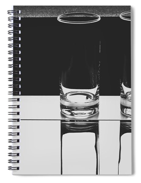 Glasses On A Table Bw Spiral Notebook