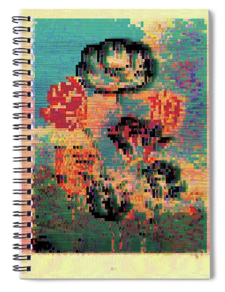 Glitched Tulips Spiral Notebook