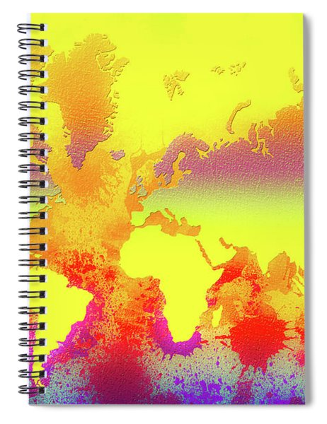 Glowing World Map Spiral Notebook